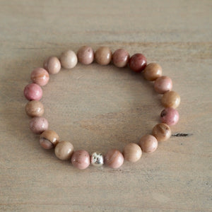 Pink Rhodonite Gemstone Stretch Bracelet by Wallis Designs