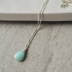 Peruvian Opal Solitaire Pendant Necklace with Sterling Silver