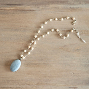 Light Blue and Cream Gemstone Necklace made in Canada