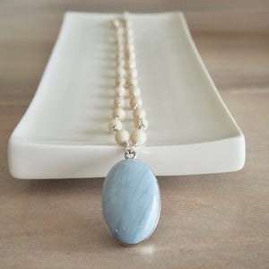 Blue Lace Agate Pendant with Riverstone Beaded Necklace
