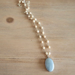 Wire Wrapped Riverstone and Blue Agate Necklace