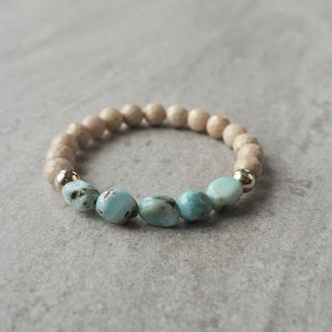 Larimar and Riverstone Gemstone Bracelet by Nancy Wallis
