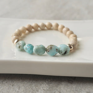 Blue Larimar and Riverstone Stretch Bracelet by Nancy Wallis