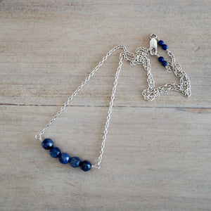 Lapis Lazuli Bar Necklace Sterling Silver Chain Wallis Designs