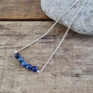 Lapis Lazuli Navy Blue Gemstone Necklace by Wallis Designs