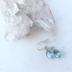 Blue Topaz Teardrop Earrings in Sterling Silver by Wallis Designs