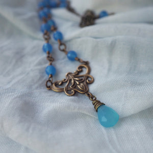 Blue Agate Stone Necklace made in Canada
