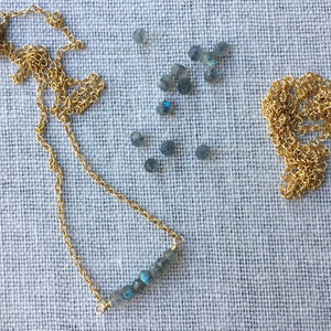 Labradorite and Gold Gemstone Necklace by Wallis Designs