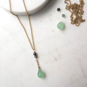 Dainty Gemstone Necklace with Green Gemstones