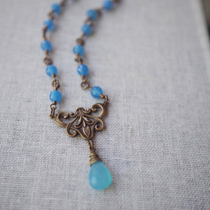 Sea of Blue Brass Necklace made in Canada by Wallis Designs