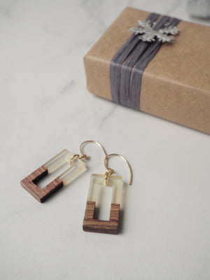 Golden and Wood Rectangular Earrings