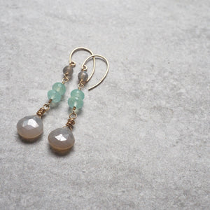 Chalcedony and Labradorite Gold Filled Earrings