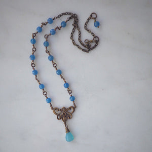 Bohemian Necklace with Blue Agate and Chalcedony Gemstones