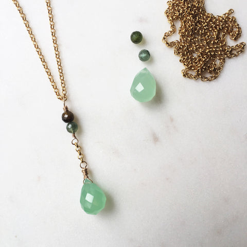 Autumn Green Gemstone Gold Necklace