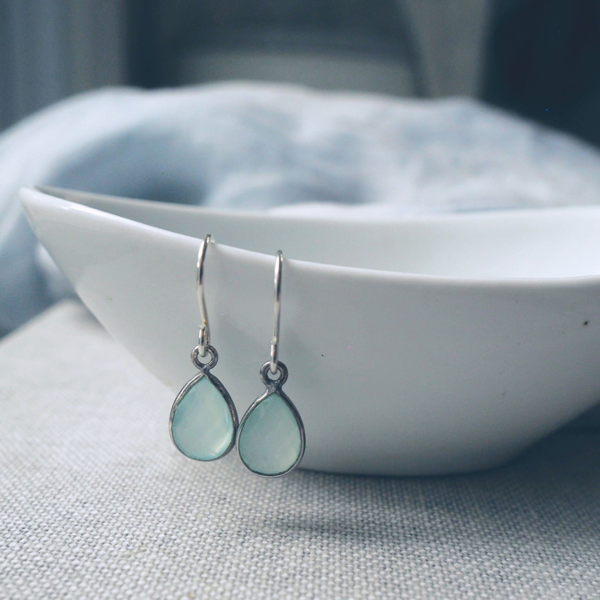 Aqua Chalcedony Teardrop Earrings