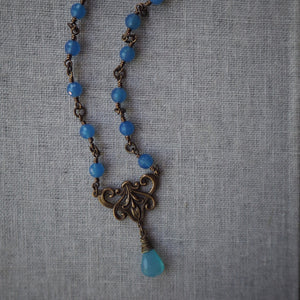 Beaded Blue Gemstone Necklace Bohemian Style