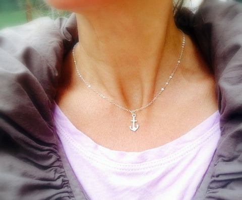 Dainty,Sterling,Anchor,Fun Summer Necklace