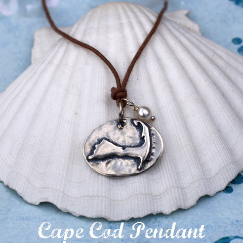 Cape Cod Map Pendant Necklace on adjustable waxed cotton