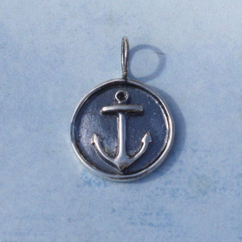 Rimmed Anchor Sterling Charm