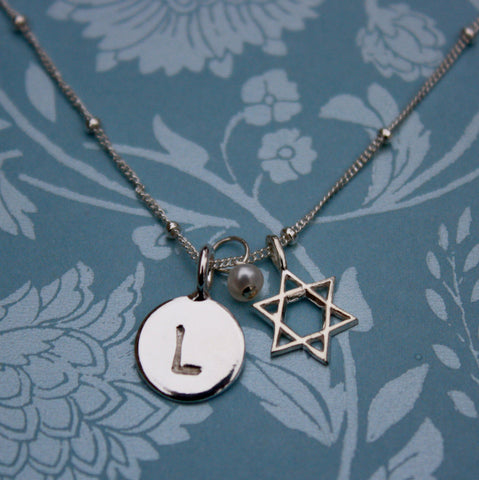 Bat Mitzvah Gift, Personalized Sterling Necklace