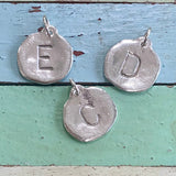 Organic Sterling Initial Charm (Lowercase initial with dotted edge)