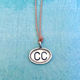 Cape Cod (CC) Sterling Charm on Adjustable Waxed Cotton, Airport Code Charm