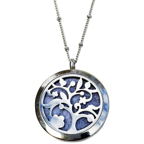 Tree of Life Stainless Steel Essential Oil Diffuser Necklaces