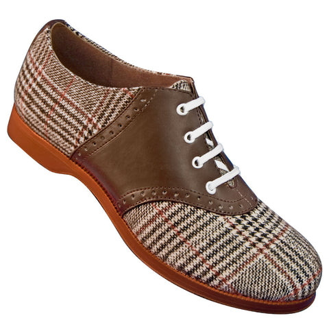 Aris Allen 1950s Women's Two-Tone Brown Plaid Saddle Shoes