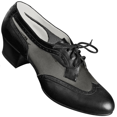 Aris Allen Women's Black 1950s Mesh Wingtip Swing Dance Shoes