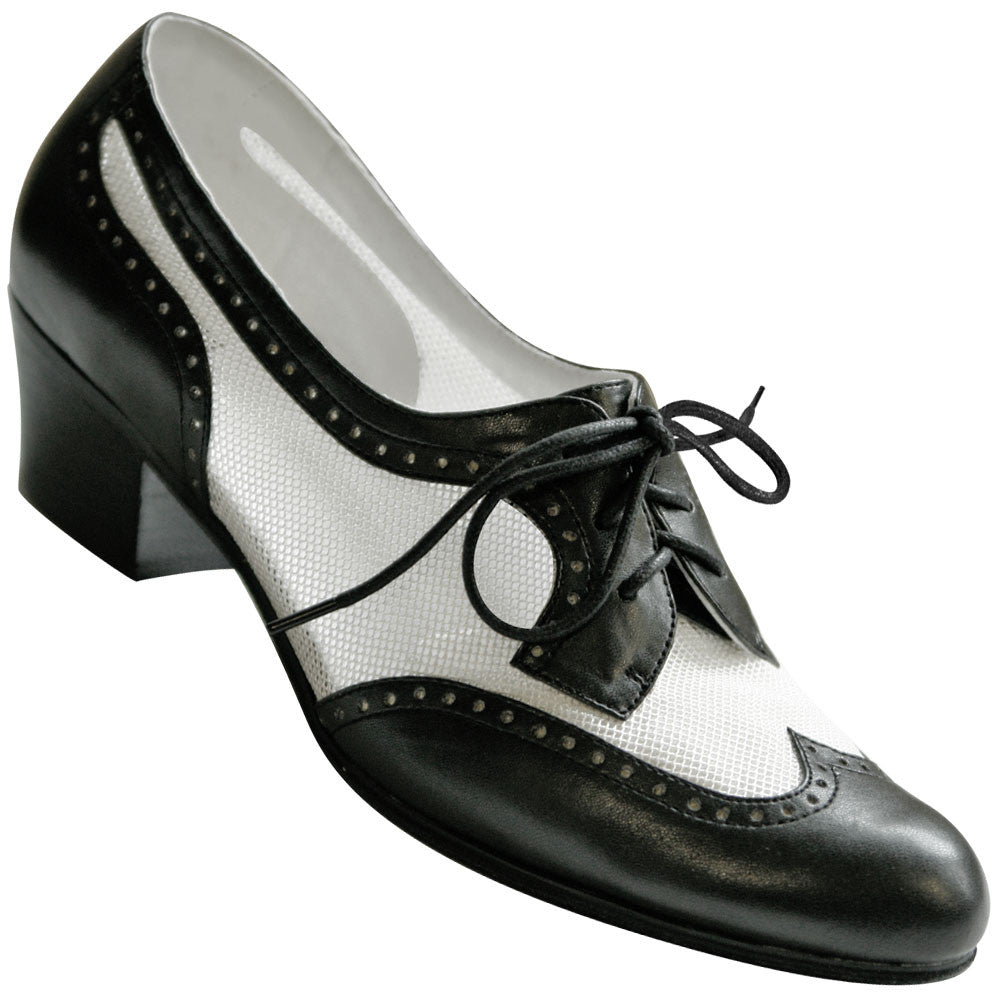 Aris Allen Women's Black and White 1950s Mesh Wingtip Swing Shoes, dancestore.com - 1