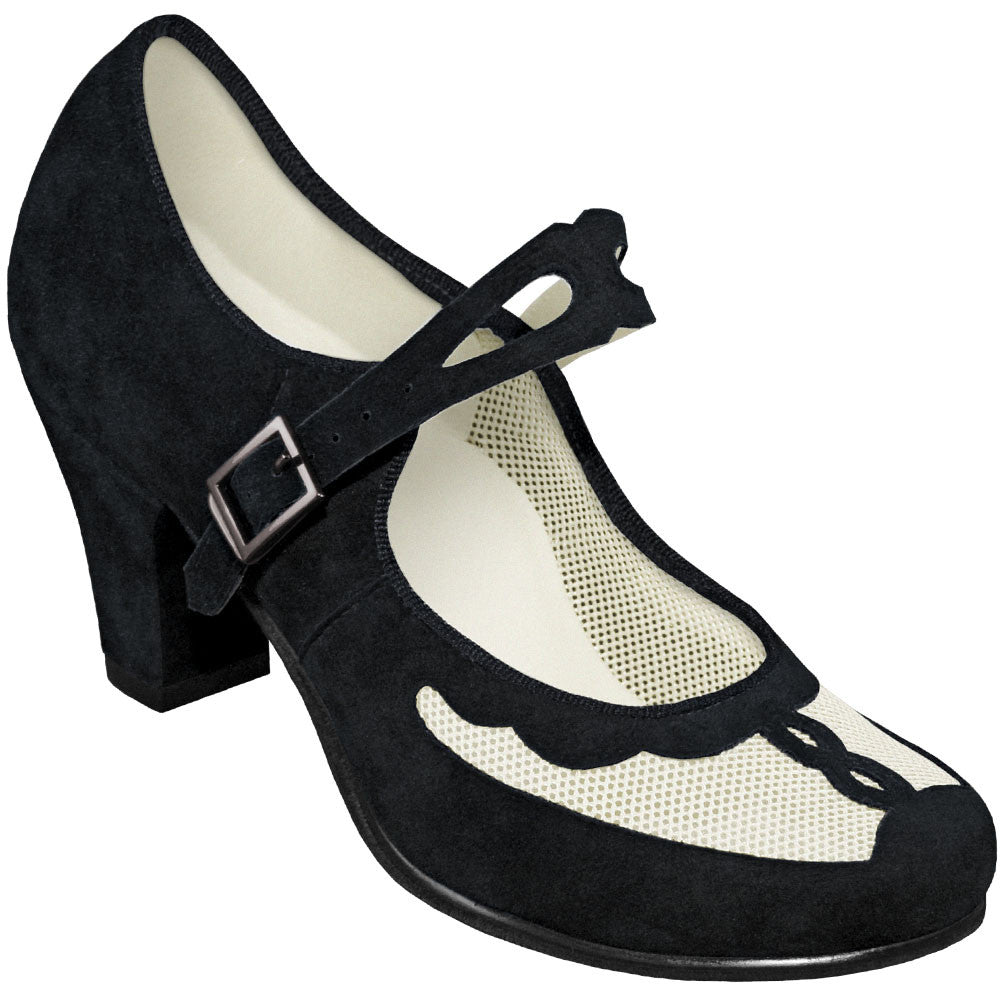 Aris Allen Black and Ivory 1940s Velvet and Mesh Mary Jane Swing Dance Shoe - *Limited Sizes*, dancestore.com - 1
