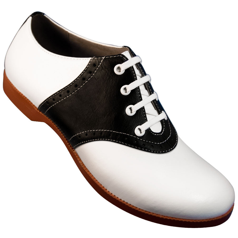 Aris Allen 1950s Women's Two-Tone Black and White Saddle Shoes