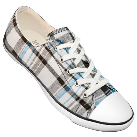 Aris Allen Women's Black, White and Blue Plaid Classic Tomboy Dance Sneaker - *Limited Sizes*