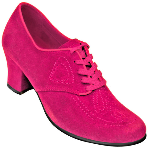 Aris Allen Women's Fuchsia 1930s Velvet Oxford Swing Dance Shoes