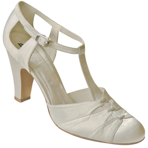 Aris Allen Ivory Satin 1930s T-Strap d'Orsay Bridal Dance Shoes for Narrow Feet - *Limited Sizes*