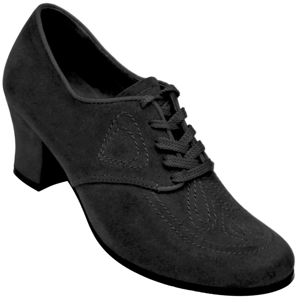 Aris Allen Women's Black 1930s Velvet Oxford Swing Dance Shoes, dancestore.com - 1