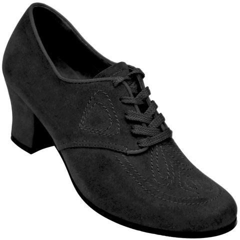 Aris Allen Women's Black 1930s Velvet Oxford Swing Dance Shoes
