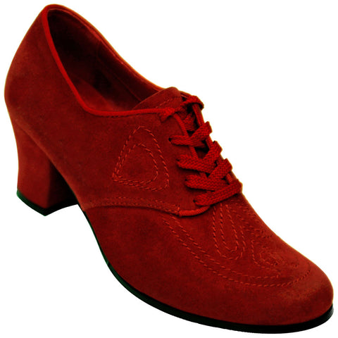 Aris Allen Women's Red 1930s Velvet Oxford Swing Dance Shoes *Limited Sizes*