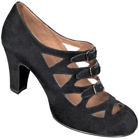 Aris Allen Women's Black Velvet 1940s 3-Buckle Dance Shoes - *Limited Sizes*