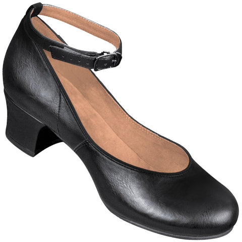 Aris Allen Women's Black 1950s Ankle-Strap Character Shoes