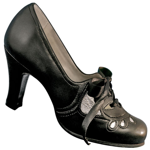 Aris Allen Black & Silver 1930s Heeled Oxford Swing Shoes - CLOSEOUT