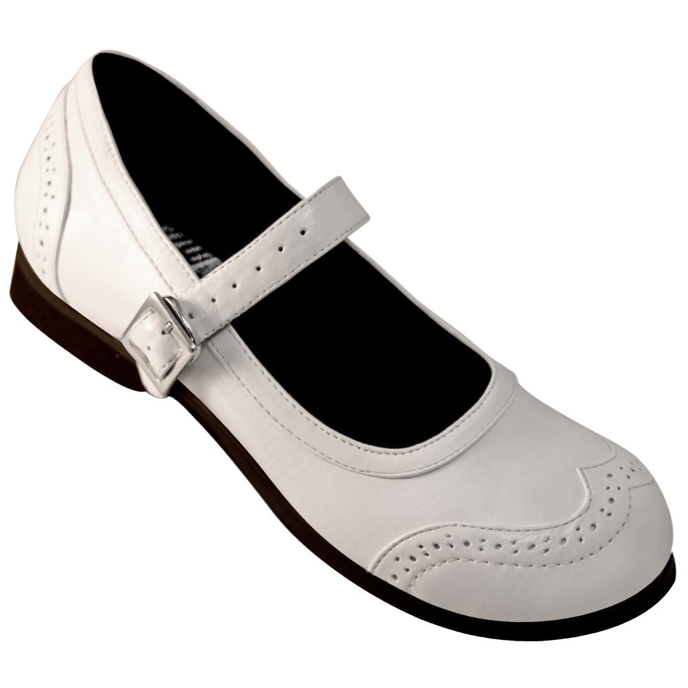 Aris Allen White Wingtip Athletic Mary Jane Swing Dance Shoe