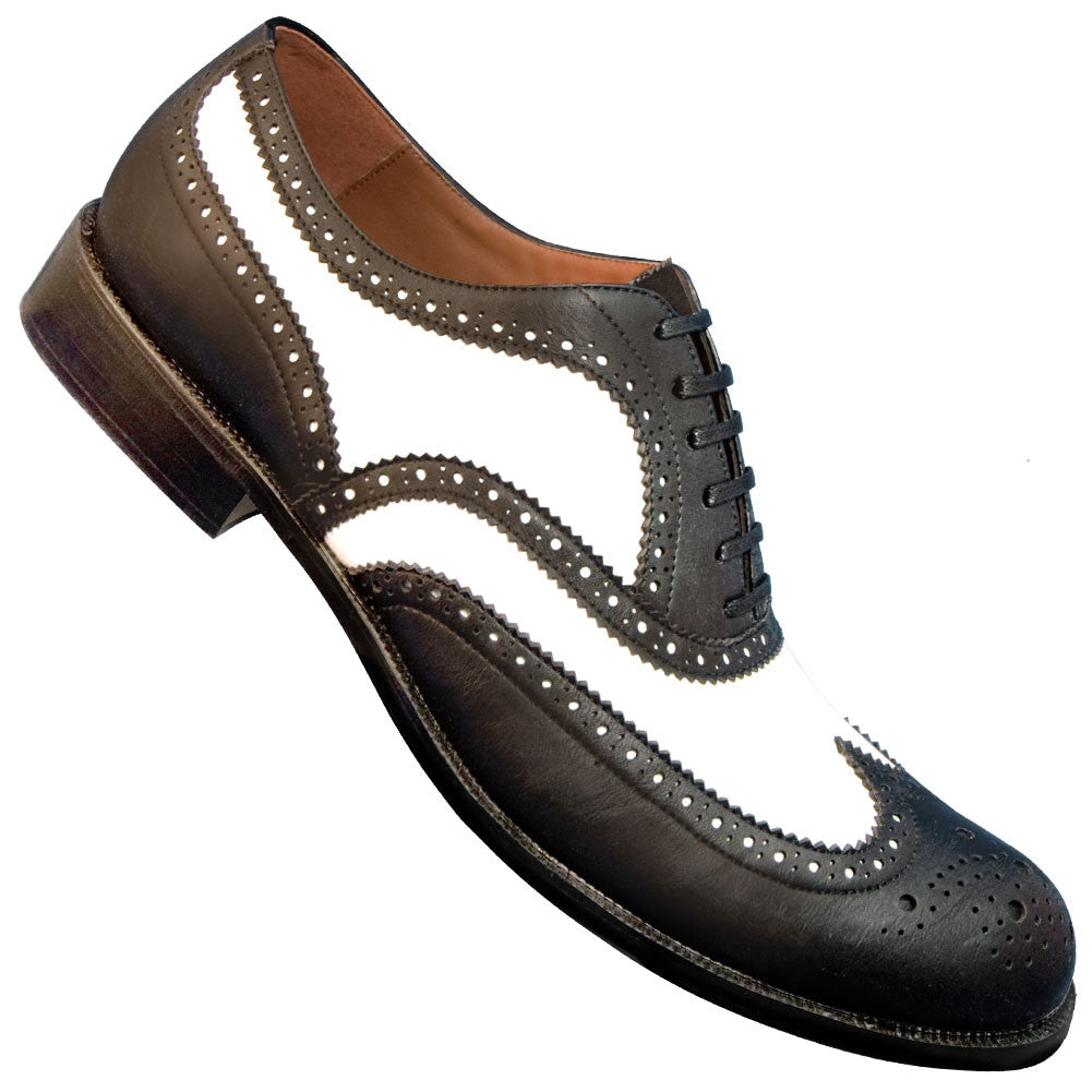 Aris Allen Men's 1950s Black and White Wingtip Dance Shoe, dancestore.com