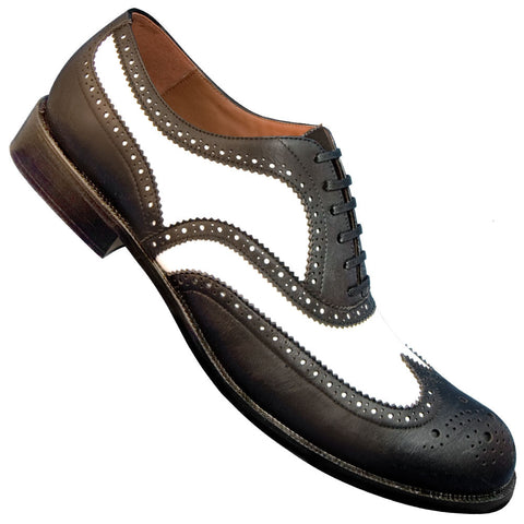 Aris Allen Men's 1950s Black and White Wingtip Dance Shoe
