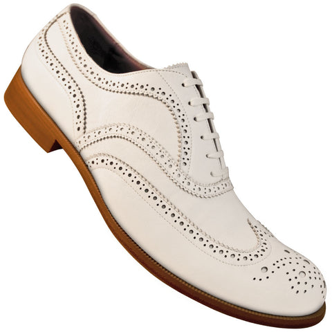 Aris Allen Men's 1950s Off-White Wingtip Dance Shoe