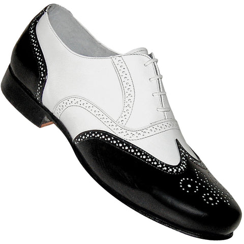 Aris Allen Men's 1930s Black and White Spat Style Wingtip Dance Shoe