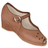 Aris Allen Brown Nubuc Peep-Toe Mary Jane Wedge Swing Dance Shoes *Limited Sizes*, dancestore.com - 1