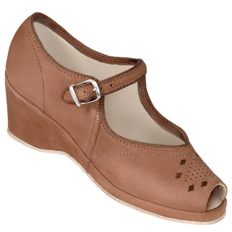 Aris Allen Brown Nubuc Peep-Toe Mary Jane Wedge Swing Dance Shoes *Limited Sizes*