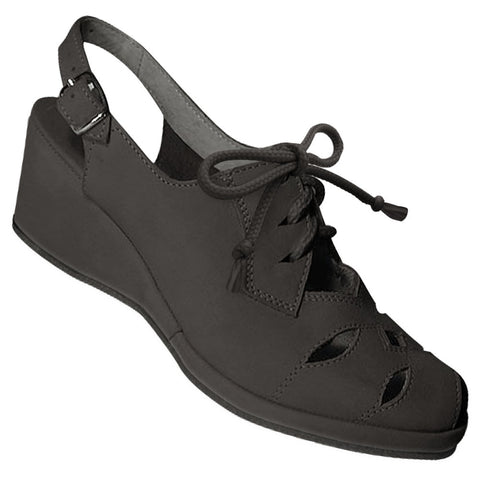 Aris Allen Women's 1940s Black Nubuc RugCutter Wedge - CLEARANCE - *Limited Sizes*