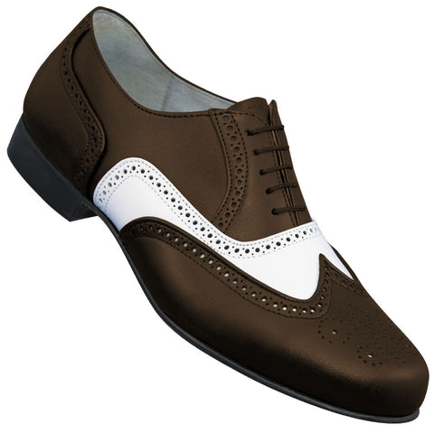 Aris Allen Men's 1930s Brown and White Spectator Wingtip Dance Shoe - *Limited Sizes*